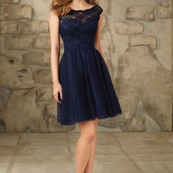 Morilee Bridesmaids 11100 Short Lace and Tulle Dress