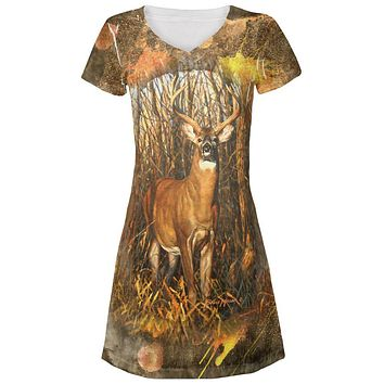10 Point Buck Splatter Juniors V-Neck Beach Cover-Up Dress