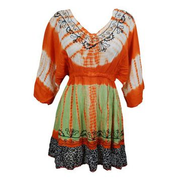 Mogul Tie Dye Cover Up Dress Floral Embroidered Orange Rayon Loose Hippie Chic Dresses - Walmart.com
