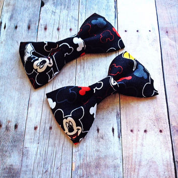 Mickey Mouse Inspired Black White Red Fabric Bow Tie