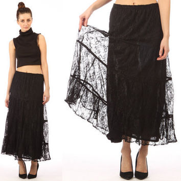 sheer lace skirt // black lace // vintage 90s midi by shopCOLLECT