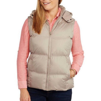 Climate Concepts Women's Hooded Puffer Vest, Large, Mocha