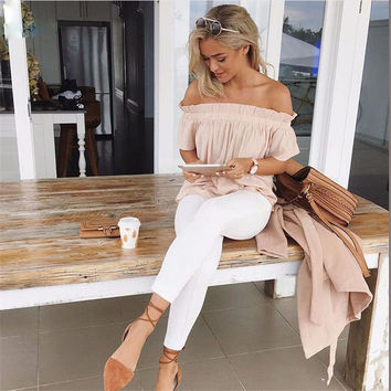 Women boat neck Fashion Solid Color strapless Short Sleeve Loose blouse top