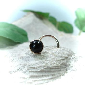 Nose Stud Onyx Gold