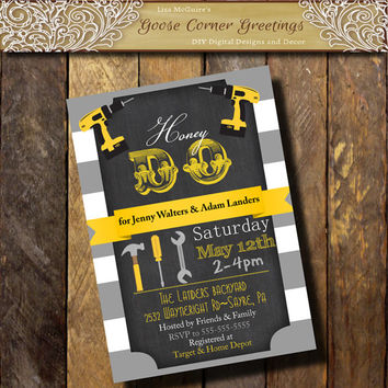 Honey Do Shower Invitation Mens Shower Invite Tools Drill Couples Shower Man Groom printable Gray yellow Digital file