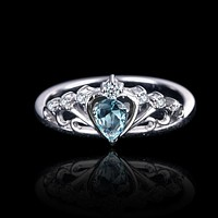 Crown Of The Sea Natural Aquamarine Sterling Silver Ring