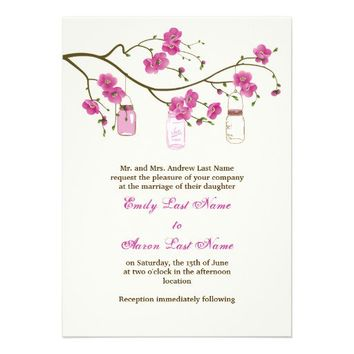 Mason jars and coral pink cherry blossoms wedding custom invitations from Zazzle.com