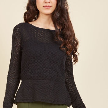 Sweetest Subtleties Long Sleeve Top in Noir | Mod Retro Vintage Sweaters | ModCloth.com