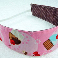Children reversible headband - Robert Kaufman cupcakes girly kid toddler child pink blue brown dots - Bandeau réversible