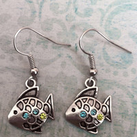 Silver Fish Dangle Earrings with Blue and Green Gemstones