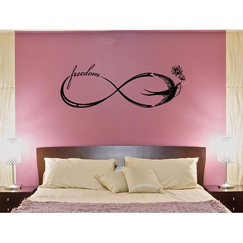 Wall Decal Freedom Sign Romance Infinity Swallow Vintage Birds Vinyl Sticker (ed1108)