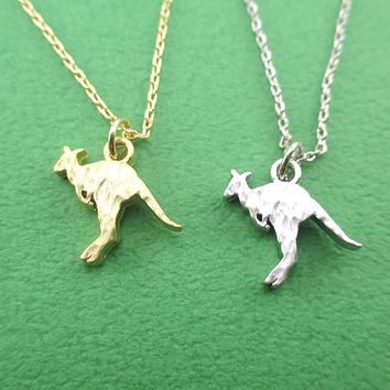 Hammered Kangaroo Silhouette Shaped Animal Pendant Necklace in Silver or Gold