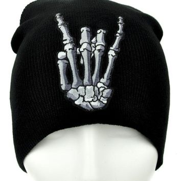 ac spbest Skeleton Horns Up Heavy Metal Sign Beanie Alternative Clothing Knit Cap