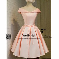 New 2017 Simple Bridesmaid Dresses Short Wedding Party Dress Maid of Honor Bow Pink Satin Homecoming Party bridesmaid dress