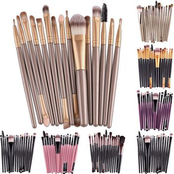Professional 15Pcs/set Eye Makup Brushes Tool Set Soft Hair Eyeshadow Eye Lipstick Eyelash Eyebrow Cosmetic Brushes Kits