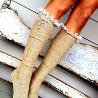 Lacey Knee High Boot Socks - OTK Cable Knitted Boot Cuff Leg Warmers