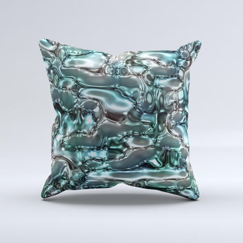 Teal Mercury  Ink-Fuzed Decorative Throw Pillow