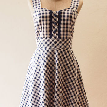 Dress in Navy, Navy Summer Dress, Straps Gingham Sweet Dress, Vintage Inspired, Vintage Lady Dress, Swing Skirt Dress, XS-XL,Custom