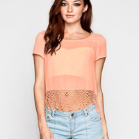 Full Tilt Womens Fringe Crop Top Peach  In Sizes