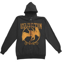 Led Zeppelin Men's  Swan And Symbols Zippered Hooded Sweatshirt Black Rockabilia