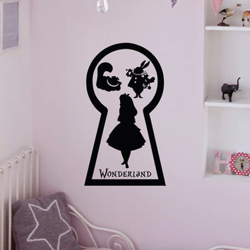 Alice In Wonderland Wall Decal White Rabbit Cheshire Cat Keyhole Lewis Carroll Decals Wall Art Nursery Bedroom Kids Room Vinyl Decor Q163
