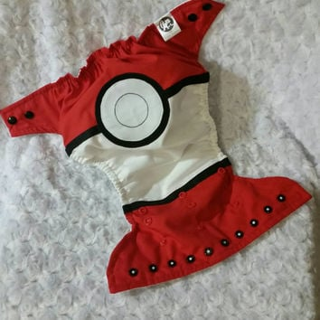 Pokemon Ball Cloth Diaper Cover or Pocket Diaper - One-Size or Newborn, S, M, L