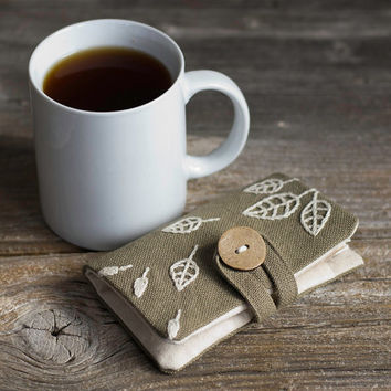 Khaki Cotton Tea Wallet with Hand Embroidered Leaves in Natural White, Nature Inspired Tea Holder, Gift for Tea Lover