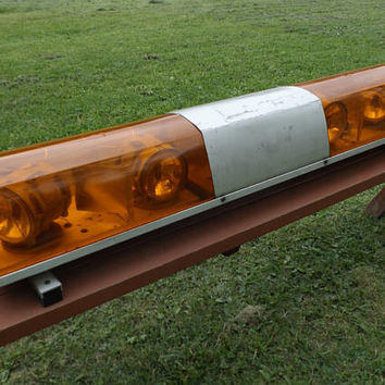 "vintage 50s amber flashing 50"" light bar vehicle truck car auto automobile roof mount rescue emergency signal orange yellow strobe service"