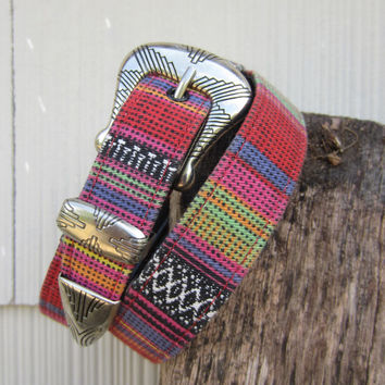 Vintage Southwestern Belt by Ribco, W26 W28 W29 / 66-74 cm // Fabric Covered Cowgirl Belt