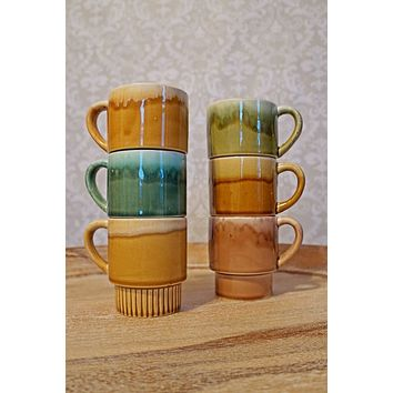 Vintage 1970s Japan + Stackable Ceramic Coffee Mug Set