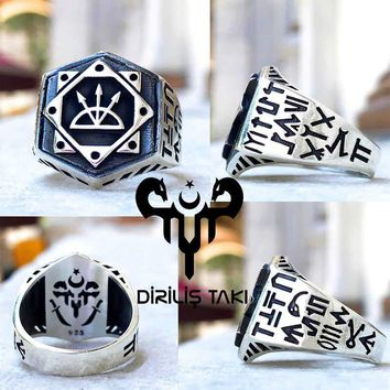 Arrow bow arc monogram sterling silver mens ring