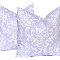 Decorative Throw Pillow Cover ONE All Sizes Lilac Purple Damask on White Twill Baby Girl Nursery Decor