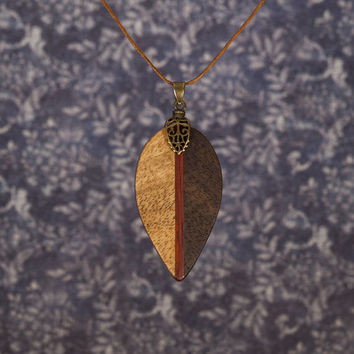 Leaf wood necklace pendant. Different wood yin yang elven heraldic geometric amulet. Unique handmade jewelry. Folk style, Classic style.