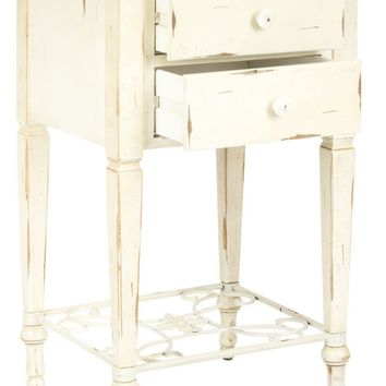 Monica 2 Drawer Shabby Chic Side Table White Wash And Medium Brown