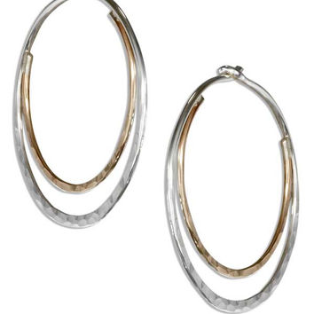 STERLING SILVER AND 12 KARAT GOLD FILLED HAMMERED 25MM DOUBLE HOOP EARRINGS