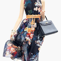 Black Floral Print Ruffled Halterneck Belted Maxi Dress