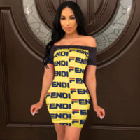 FENDI Fashion Women Sexy Print Shorts Sleeve Strapless Dress