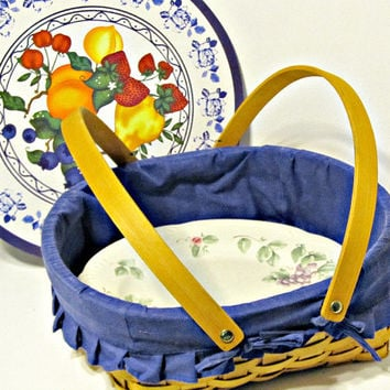Vintage Basket with Blue Fabric Lining and Painted Lid