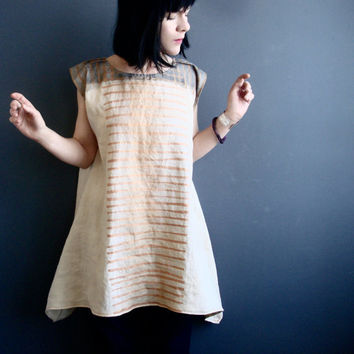 Power of Grace - iheartfink Handmade Hand Painted Hand Printed Wearable Art Metallic Stripes Print Natural Tan Linen Tunic Mini Dress