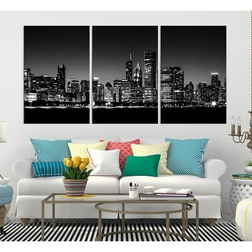 Chicago Wall Art Canvas Print Extra Large Chicago City Night Canvas Print Chicago Skyline Night