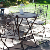 3 Piece Folding Patio Furniture Iron Bistro Set in Antique Bronze Finish