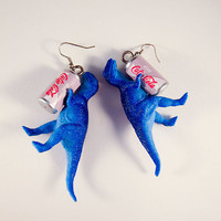 Diet Soda Drinking Dino Earrings