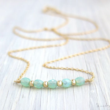 Tiny Beaded Necklace - Turquoise and Gold Filled Beads, Dainty Gold Necklace, Gold Filled Chain, Simple Everyday Jewelry, Bridesmaid Gift