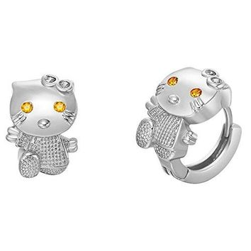 Uloveido Silver Plated Tiny Hello Kitty Small Hoop Earrings Cubic Zirconia Crystal Jewelry for Gilrs R564