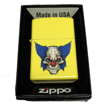 Zippo Custom Lighter - Clown Skull with Blue Hair - Regular Lemon Matte 24839CI401841