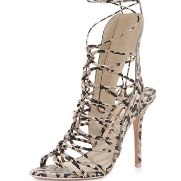 Sophia Webster Lacey Lace-Up Gladiator Sandal, Nude/Camo