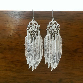 Angel feathers earrings, silver plated earrings, dangle earrings