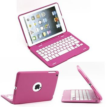 SUPERNIGHT iPad Mini Wireless Bluetooth Keyboard Case Cover with 135 Degree Rotate Protective Aluminum Case for Apple iPad Mini Tablet -- Pink