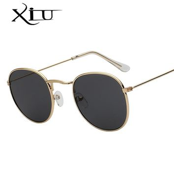 XIU Oval Shades Brand Designer Sunglasses Men Women Retro Vintage Sunglass Hot Sale Metal Glasses UV400