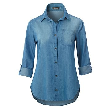 Lightweight Long Sleeve Button Down Denim Shirt with Roll Up Sleeves